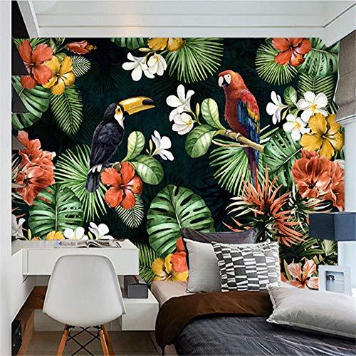 Mrlwy Wandbild Tapete Malerei Pastoralen Papagei Tropischer Regenwald Pflanze Cartoon Wohnzimmer TV Hintergrund Tapeten Wohnkultur-400X270CM