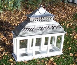 Lanterne chinoise 040 de jardin en bois blanc style maison de campagne shabby 47 x 46 x 16 cm