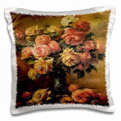 BLN Flower Paintings Fine Art Collection - Les Roses dans un Vase by Pierre-Auguste Renoir Flower Still Life - 16x16 inch Pillow Case