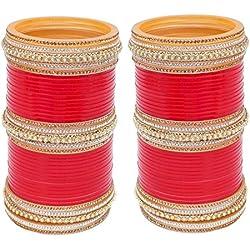 Lucky Jewellery Bridal Punjabi Chura Stone for Women (Red)