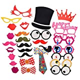 Tankerstreet party photo booth puntelli kit di compleanno, Natale photo booth puntelli bambini per compleanno festa di nozze Baby Shower decorazione Fancy Dress Fun Gift con baffi labbra glasse fascette corona pipe Eyes Hat, confezione da pezzi