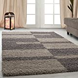 Hochflor Shaggy Teppich für Wohnzimmer Langflor Pflegeleicht Schadsstof geprüft Teppiche Streifen Oeko Tex Standarts, Farbe:Taupe, Maße:140x200 cm