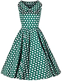 53c4ed1773d0 Pretty Kitty Fashion Jade Green and White Polka Dot Rockabilly 50s Swing  Tea Dress