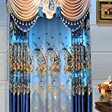 HiMqhy Gehobene Elegante Seide Samt Bestickte Vorhnge Blau Luxus Reichen Drucken Blume Garn Vorhang Wohnzimmer Schlafzimmer