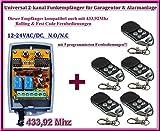 Funkempfänger SET 433,92Mhz 12-24 VAC / DC + 5 Rolling code Fernbedienung für Garagentor, Alarmanlage