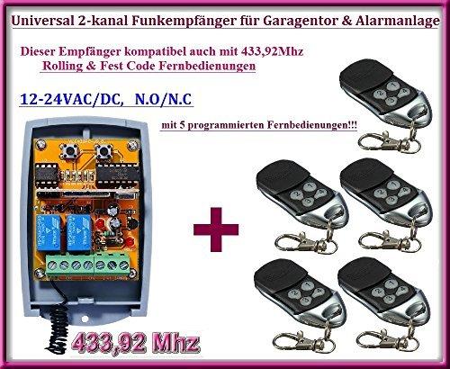 Funkempfänger SET 433,92Mhz 12-24 VAC / DC + 5 Rolling code Fernbedienung für Garagentor, Alarmanlage -