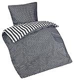 Aminata – Bettwäsche 135x200 cm Baumwolle Reißverschluss Streifen Punkte Grau Anthrazit Weiß Bettbezug gestreift Pünktchen Wendebettwäsche 2-farbiges Bettwäscheset Bezug zum Wenden Normalgröße Unisex