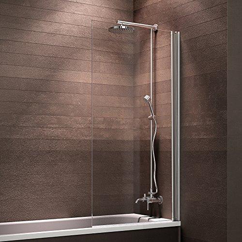 Schulte Duschabtrennung Badewanne zum Kleben Glas 1 teilig 130x71 cm Berlin, 1 Stück, Alu natur