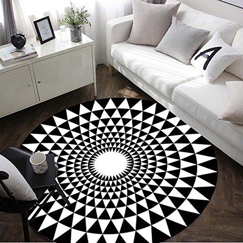 JCOCO Mode Tapis Rond en Noir et Blanc Salon Table Basse Grand Tapis (Couleur : Noir, Taille : Diameter 80cm)