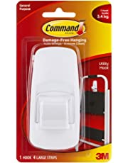 Command Jumbo Plastic Utility Hook(White,1 hook and 4 strips)