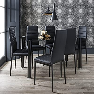 Black & White Glass Dining Table Set with 6 Faux Leather Chairs Brand New - cheap UK light shop.