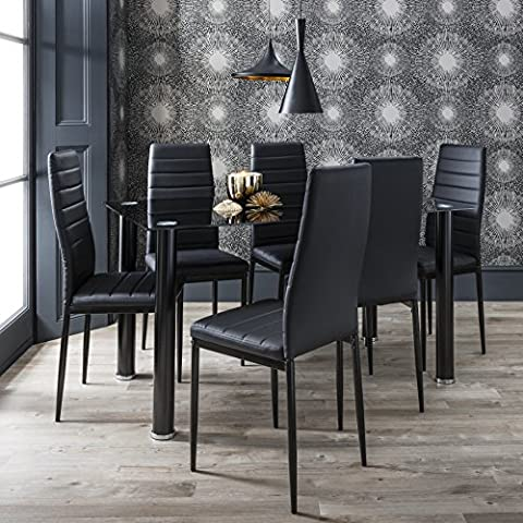 Dining Table & Chairs Set of 6 Black