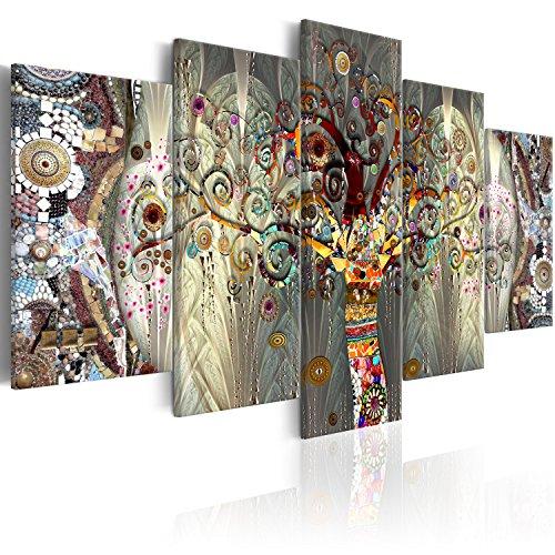 murando - Cuadro 225x112 cm - 5 Partes - impresión de 5 Piezas - Material Tejido no Tejido - impresión artística - Imagen gráfica - Arbol Bosque Abstraccion Klimt l-A-0005-b-n