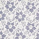 Fabulous Fabrics Weiche Tüllspitze Blumen - Weiss/blau -