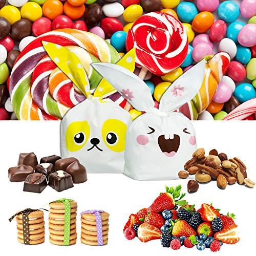 ARTMOVA 100 Pezzi Sacchetti Compleanno,Sacchetto per Caramella Confetti Borsa di Regalo Sacchetto Coniglietto di Forma del Coniglio Sacchetti di Biscotto - 4