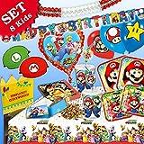 geburtstagsfee Super Mario Partyset für 8 Kids, 80tlg