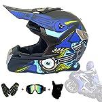 Full Face Helmet Off Road Motocross Quad Crash Helmet Downhill Dirt Bike MX ATV Adult Motorbike Helmet Gloves, Goggles...