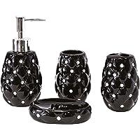 SQ Ensemble 4 pièces salle de bain avec distributeur de savon liquide porte brosses à dents porte savon et pot
