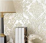 Yosot Europäischen Luxus Damaskus Vliestapeten Stereoskopischen 3D-Schlafzimmer Wohnzimmer Tv Hintergrund Verdickung Tapete Reis Weiß