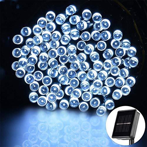LED Solar Lichterkette Außen Mit Lichtsensor, 12M 100 LED 8 Modi IP65 Wasserdicht Solarbatterie Warmweiß Beleuchtung für Garten Terrasse, Haus Party Weihnachten Halloween, Hochzeit