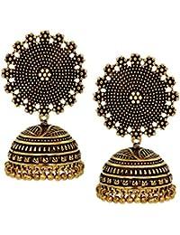 V L IMPEX Black Metal Oxidised Two Tone Plated Jhumka Jhumki Earrings For Women & Girls