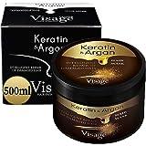 VISAGE Mascarilla capilar con aceite de argán y queratina   Tratamiento capilar para cabello dañado y seco   Hidratante, sin