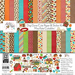 Miss Kate Cuttables Papier- und Aufkleber-Set, 17 doppelseitig, 30,5 x 30,5 cm, 33 Designs und 1 Stickerbogen (8 x 12 cm)