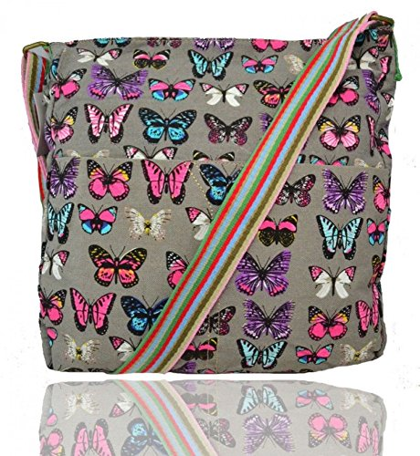 LeahWard® Damen Mode Essener KleinCavans Schmetterling Dots Spotted Kreuz Boy Tasche Kuriertaschen Handtasche CW13001-B CWRF13002-B CW13001-PD CW13001-S 13001-B Grau