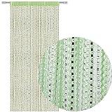 Bestlivings Fadengardine Türvorhang Fadenvorhang Metallikoptik mit Stangendurchzug, trendig schön in vielen erhältlich (90x200 cm/grün - mintgrün)