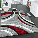 Designer Carpet With Contour Cut Striped Model In Grey Black And Red Mixture , Size:120x170 cm