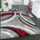 Paco Home Designer Teppich mit Konturenschnitt Muster Gestreift Grau Schwarz Rot Meliert, Grösse:160x230 cm