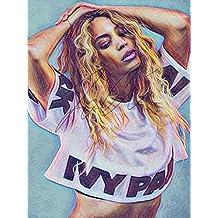 Beyonce Drawing Print Poster Hand Drawn Coloured Pencil Singer #BEYONCE1