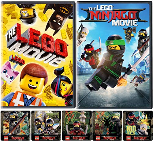 Findet die Ninja Bricks: The Lego Movie & The Ninjago Movie DVD Bundle + Bonus LEGO Sticker Lloyd, Nya, Cole, Zane und Kai in Ninjacity
