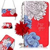 Galaxy S5 Case Wallet, Samsung Galaxy S5 Phone Case, Slynmax [Florid Series] Premium PU Flip Folio Leather Cell Phone Case with Pearl Flower Chain Shoulder Messenger Phone Wrist Strap Bag for Women Girl Ultra Slim Fit Bookstyle with Folding Stand Card Holder Organizer Business ID Slots Purse Magnetic Closure Silicone TPU Shockproof Protective Case Smart Shell for Samsung Galaxy S5+ 1* Stylus Pen