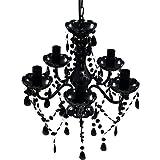 vidaXL Lustre avec 5 Ampoules Cristal Plafonnier Lumière Salon Chambre Maison