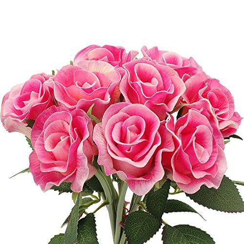 Rerxn fiori per bouquet di rose artificiali, sembrano vere al tatto, in lattice, per nozze, decorazioni floreali, confezione da 10 pink
