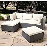 OUTLIV. Balkonlounge Polyrattan Basel - Sonderedition - Günstiges Lounge-Set 3tlg. Ecklounge Grau Loungemöbel Garten Outdoor