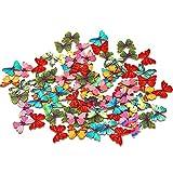 BIGBOBA 50 botones de costura de madera para manualidades, mariposas, flores, botones para álbumes de recortes, botones vintage, con 2 agujeros, accesorios de ropa, 28 mm