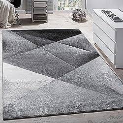 Paco Home Tapis Design Moderne Motifs Géométriques Poils Ras Gris Noir Blanc Chiné, Dimension:120x170 cm