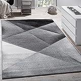 Alfombra De Diseño Moderno De Velour Geométrico Mezclado En Gris Negro Y Blanco, Grösse:70x140 cm