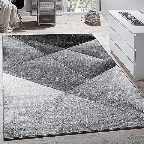 Designer Teppich Modern Geometrische Muster Kurzflor Grau Schwarz Weiß Meliert, Grösse:230x320 cm