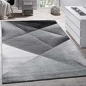 Tappeto Moderno Di Design Pelo Corto Alla Moda Tappeto Melange In Grigio Nero Bianco, Dimensione:70x140 cm