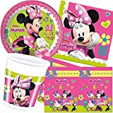 Procos/Carpeta 62-TLG. Party-Set * Minnie Happy Helpers * mit Teller + Becher + Servietten + Tischdecke | Deko Kinder Geburtstag Motto Disney Maus pink Mädchen Daisy