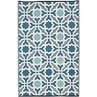Fab Hab - Seville - Alfombra para Exterior e Interior - Multicolor - Azul - (120 cm x 180 cm)