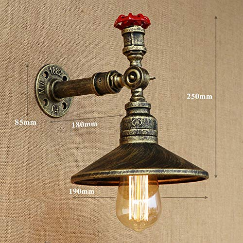 AXWT E27 Lampada da Parete American Industrial Wind Aisle Retro Vintage Ristorante Edison Industry Sconce Water Pipe Singola Testa Decorazione Tubo di Acqua Applique da Parete (Color : Bronze)