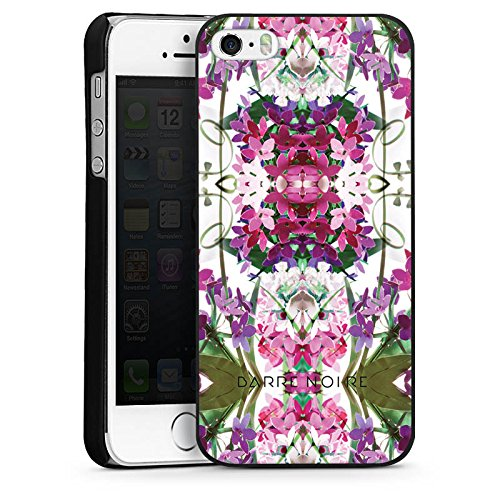 Apple iPhone 4 Housse Étui Silicone Coque Protection Fleurs Motif floral Fleurs CasDur noir