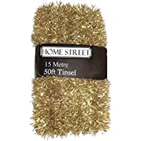 Extra Long 15 metre, 50 foot, Tinsel by Homestreet® in a choice of Red, Silver or Gold Xmas Decoration (GOLD)