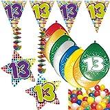Carpeta 54-Teiliges Partydeko Set * Zahl 13 * für Kindergeburtstag Oder 13. Geburtstag mit Girlande, Rotorspiralen, Luftschlangen und Vielen Luftballons