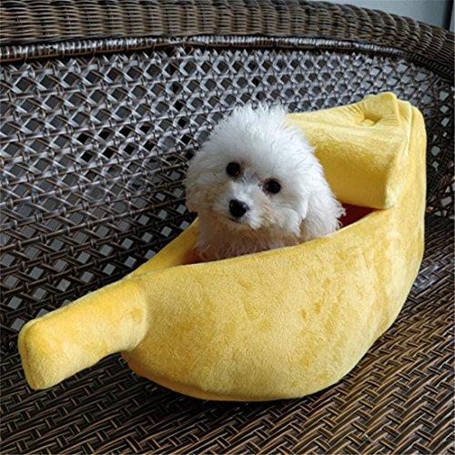Kreativ Hund Bett Katze Höhle Klein Mittel Haustier Haus Waschbar Gemütlich Hündchen Kätzchen Zwinger Banane Boot Mit Deckel , M