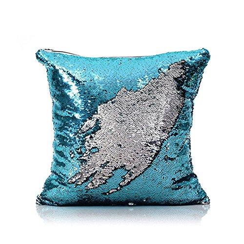 Homelava Fundas de Cojínes Dos Colores DIY Lentejuelas Reversible Cojines Decorativos 40x40 cm, Azul+ Plata